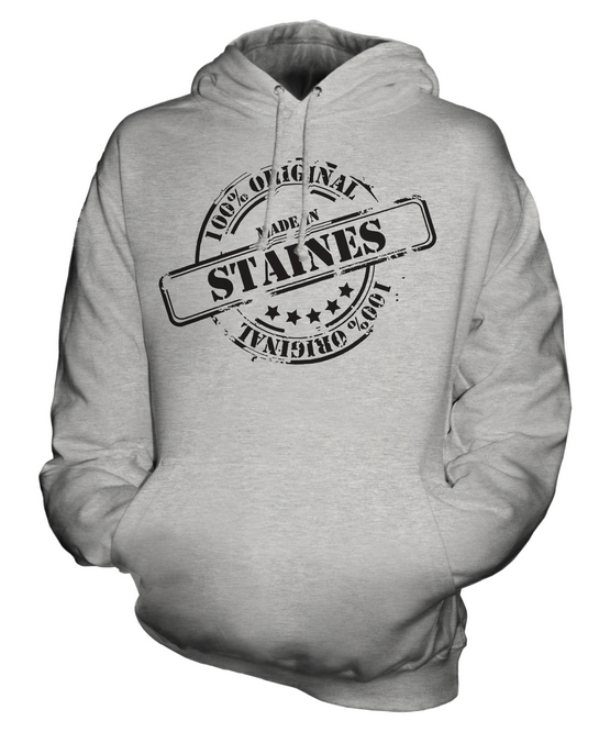 MADE MADE MADE IN STAINES UNISEX HOODIE MENS damen LADIES GIFT CHRISTMAS BIRTHDAY 50TH  | Düsseldorf Eröffnung