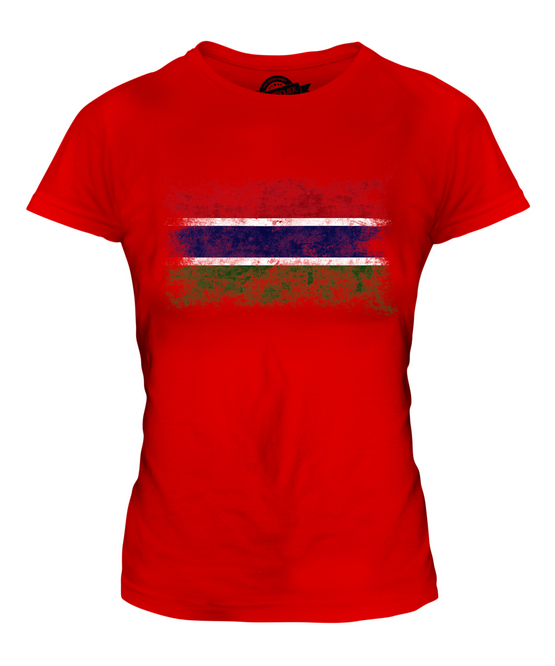 GAMBIA GRUNGE FLAG LADIES T-SHIRT TEE TOP GAMBIAN SHIRT FOOTBALL JERSEY GIFT