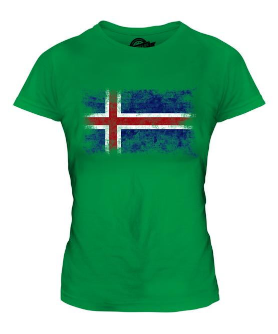 Islande délavé drapeau femmes t-shirt tee top island football islandais cadeau shirt