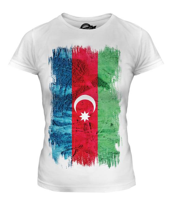 AZERBAIJAN GRUNGE FLAG LADIES T-SHIRT TEE TOP AZERBAYCAN AZERI AZERBAIJANI SHIRT