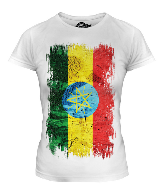 d1585db0719b1 Details about ETHIOPA GRUNGE FLAG LADIES T-SHIRT TOP ITYOP'IA FOOTBALL  ETHIOPIAN GIFT SHIRT