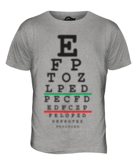 Blurred Eye Test Chart Mens Funny T Shirt Top Humour Gift Joke Short
