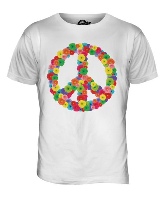 Flower Power Mens Fashion Print T Shirt Hippy Hipster Cnd Symbol