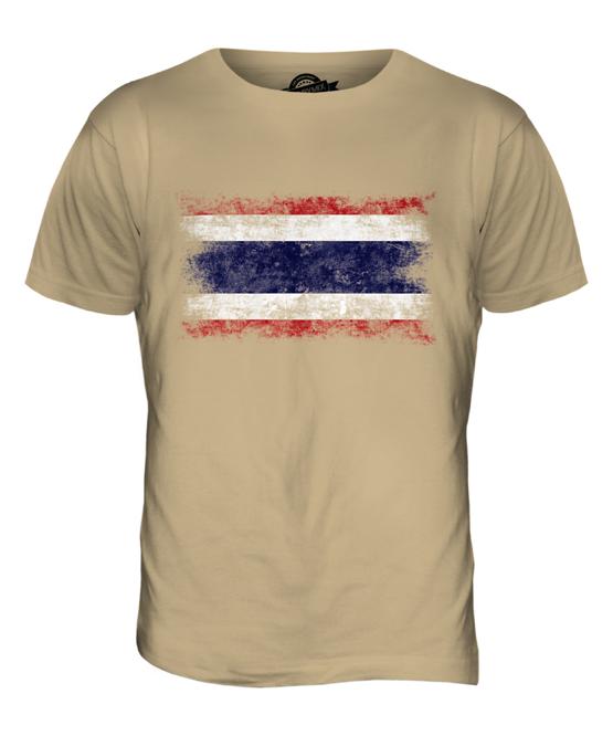 Tailandia-Bandiera-effetto-anticato-da-Uomo-T-shirt-girocollo-Bangkok-Thai-ratcha-anachak-prathet