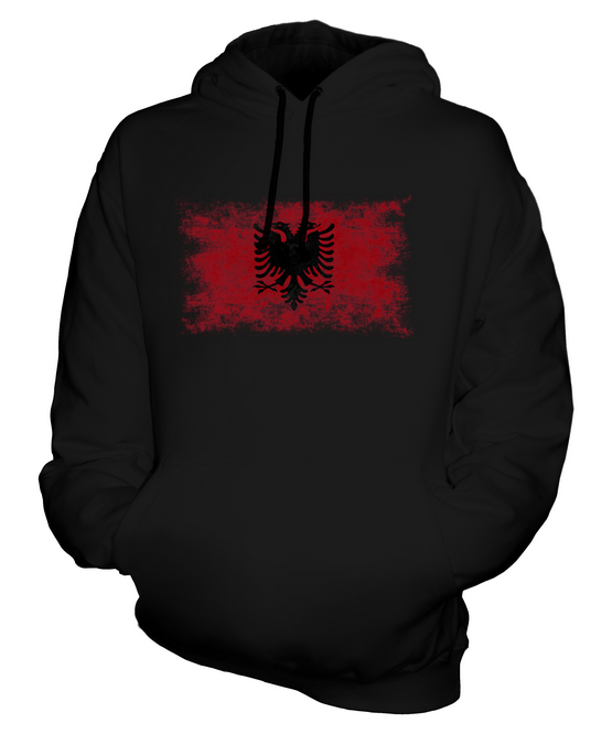 wowshirt Felpa con Cappuccio Uomo Bandiera Albania Bandiera Emblema Albanese
