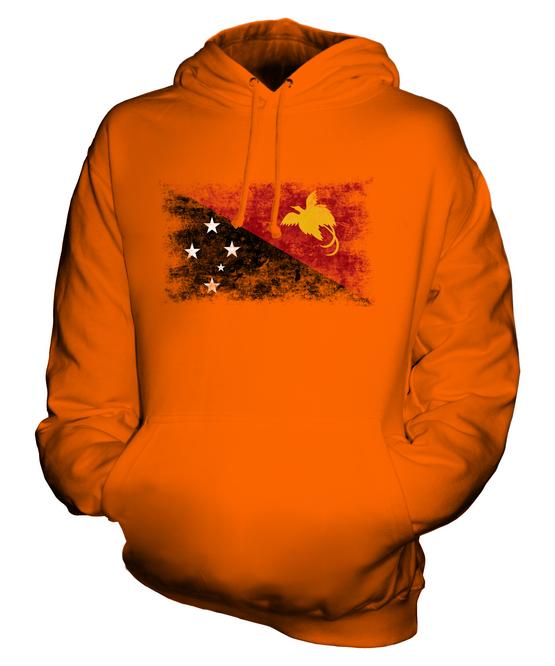 PAPUA NEW GUINEA DISTRESSED FLAG UNISEX HOODIE TOP PAPUA NIUGINI PAPUAN GUINEAN
