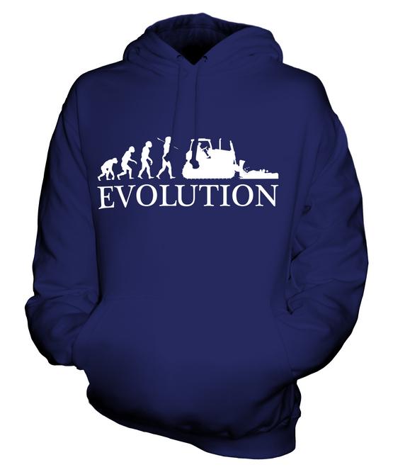 BULLDOZER EVOLUTION OF MAN UNISEX HOODIE TOP GIFT BUILDER DIGGER