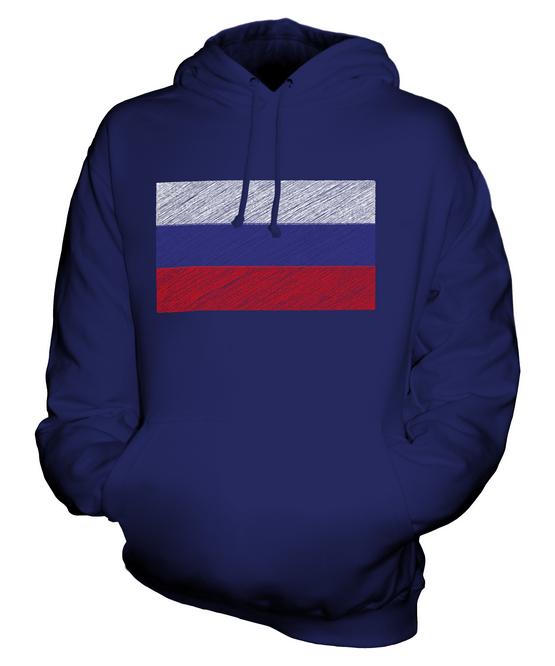 RUSSIA SCRIBBLE FLAG UNISEX HOODIE TOP GIFT ROSSIYA ROSSIÂ