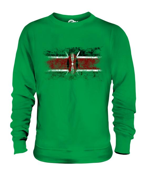 KENYA DISTRESSED FLAG UNISEX SWEATER TOP KENYAN SHIRT GIFT FOOTBALL JERSEY GIFT SHIRT 5e3bce