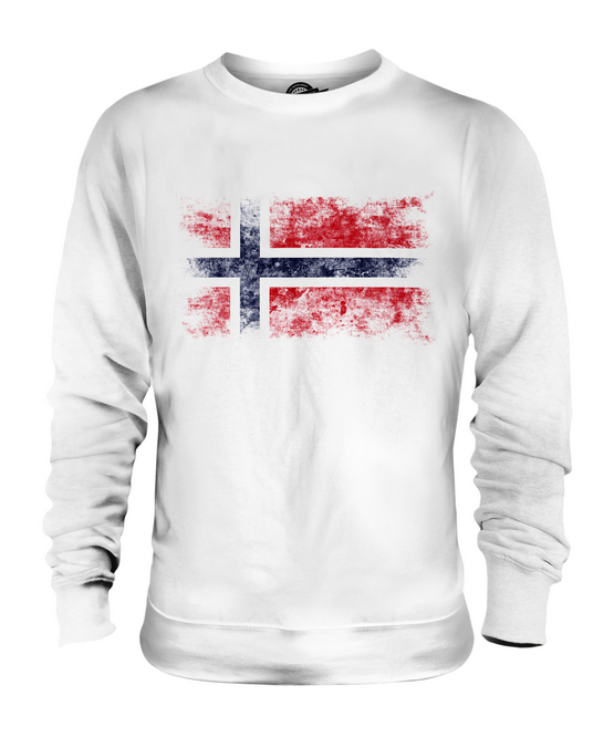 NORWAY DISTRESSED FLAG UNISEX SWEATER TOP NOREG NORWEGIAN NORGE SHIRT FOOTBALL