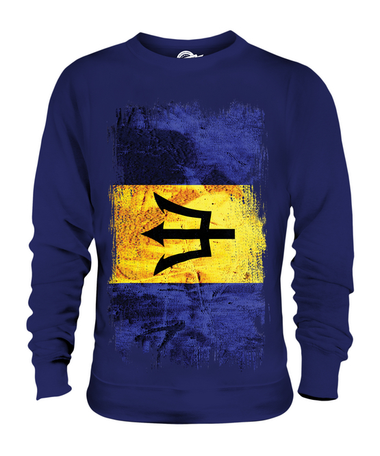 BARBADOS GRUNGE FLAG UNISEX SWEATER TOP BARBADIAN FOOTBALL BAJAN BAJAN BAJAN JERSEY SHIRT 598c50