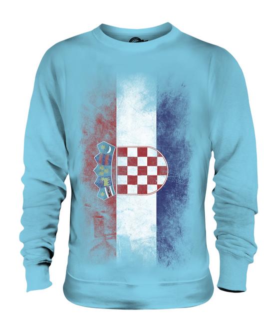 CROATIA FADED FLAG UNISEX SWEATER TOP HRVATSKA GIFT FOOTBALL CROATIAN GIFT HRVATSKA SHIRT 586834