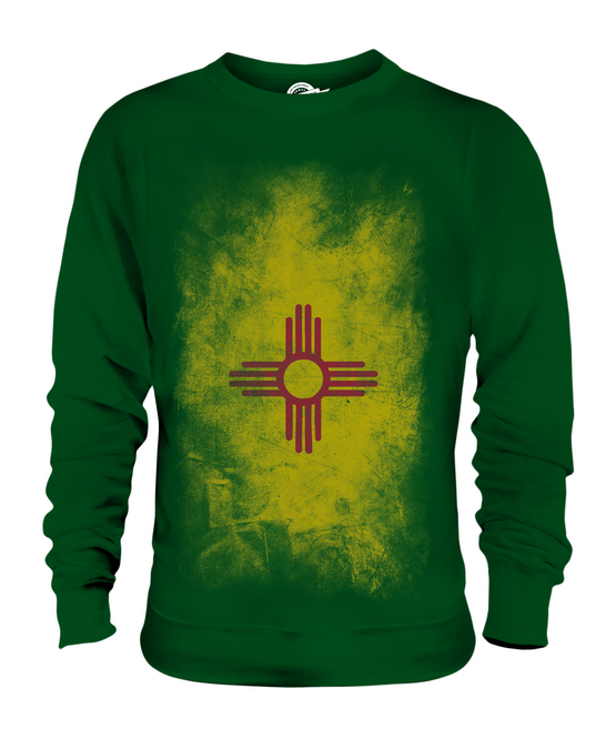 NEW MEXICO STATE FADED FLAG UNISEX SWEATER TOP NEW MEXICAN SHIRT JERSEY GIFT