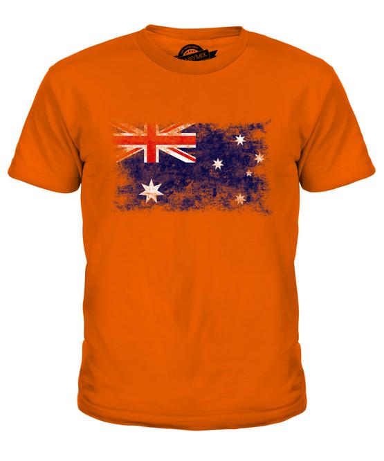 AUSTRALIA DISTRESSED FLAG LADIES T-SHIRT TOP AUSTRALIAN SHIRT FOOTBALL JERSEY