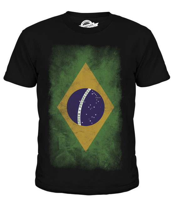 BRAZIL FADED FLAG MENS T-SHIRT TEE TOP BRASIL FOOTBALL BRAZILIAN GIFT SHIRT